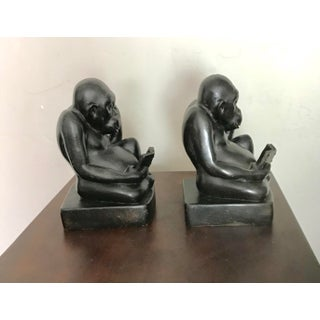 Black Reading Monkeys Wildlife Bookends - a Pair Preview