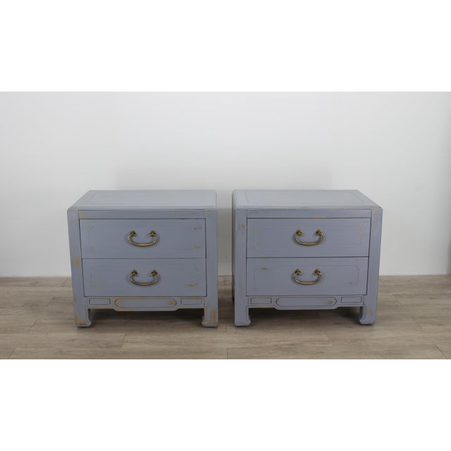 Pair of Mid-Century Gray Nightstands, Hand Painted Nightstands, Pair of Gray Nightstands, 1970's Nightstands For Sale - Image 13 of 13
