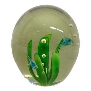 Vintage Blue Sunfish Glass Paperweight For Sale