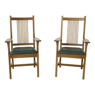 Pair Stickley Mission Oak Spindle Back Armchairs For Sale