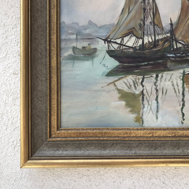 Mid-Century Sailboats in Harbor Framed Painting - Image 3 of 7