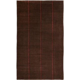 Contemporary Hand Knotted Red Line Wool Rug For Sale