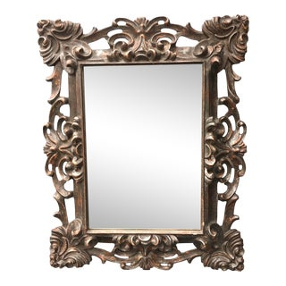 Italian Carved and Silver Gilded Mirror For Sale
