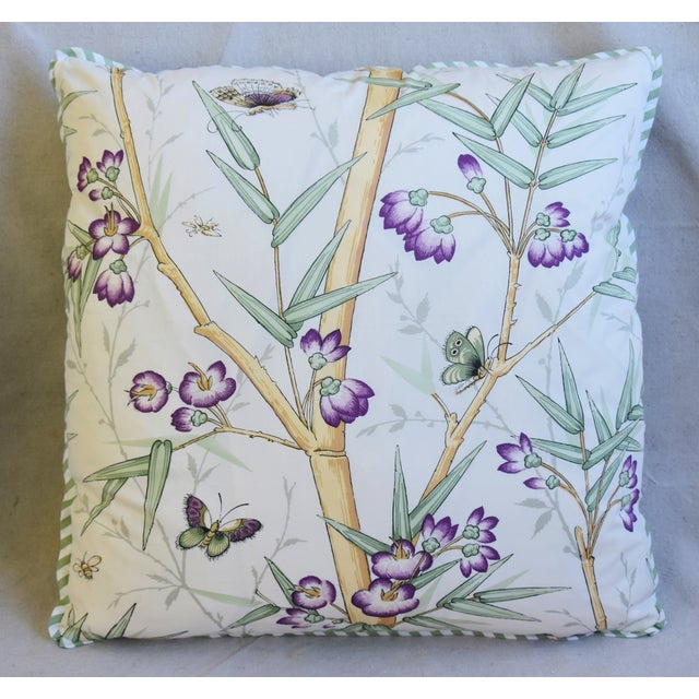 "Clarence House Clarence House Bamboo Fabric Feather/Down Pillows 21"" Square - Pair For Sale - Image 4 of 13"