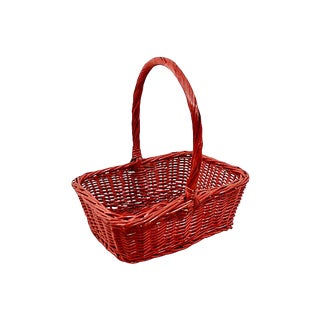 Red Woven Rattan Rectangular Basket For Sale