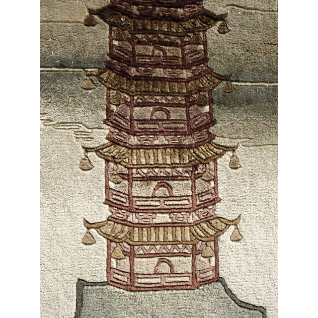 Vintage Chinese Wool Wall Hanging Rug Tapestry 'Temple W Lake and Boats' For Sale - Image 9 of 13
