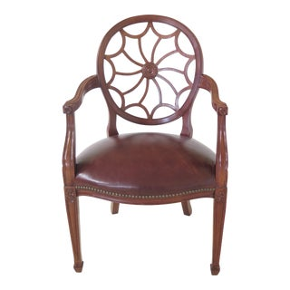 Hickory Chair Co Spiral Web Back Leather Seat Arm Chair For Sale