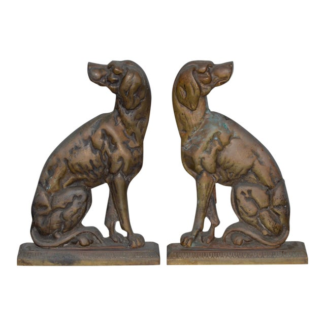 """19th Century Cast Iron """"Shorthaired Pointer"""" Andirons C.1880s - a Pair For Sale"""