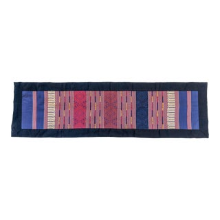 Navy/Red/Gold Table Runner With Black Border For Sale