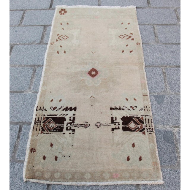 Vintage Turkish Muted Colour Carpet - 3' 5'' X 1' 8'' - Image 2 of 11