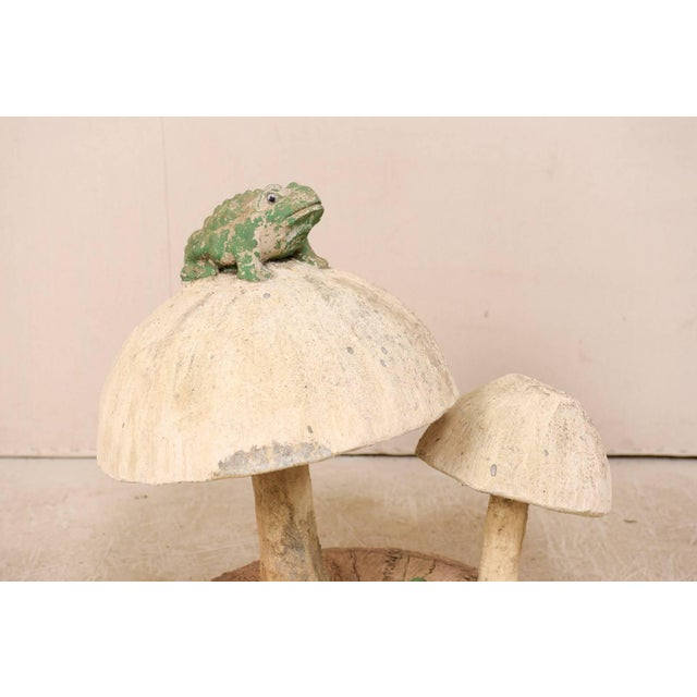 Tall Mushrooms and Frogs Garden Sculpture on Faux Bois Slab Base For Sale - Image 4 of 11