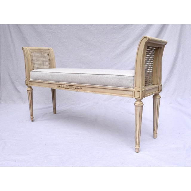 Vintage Louis XVI-Style Caned Scroll Arm Bench For Sale - Image 4 of 7
