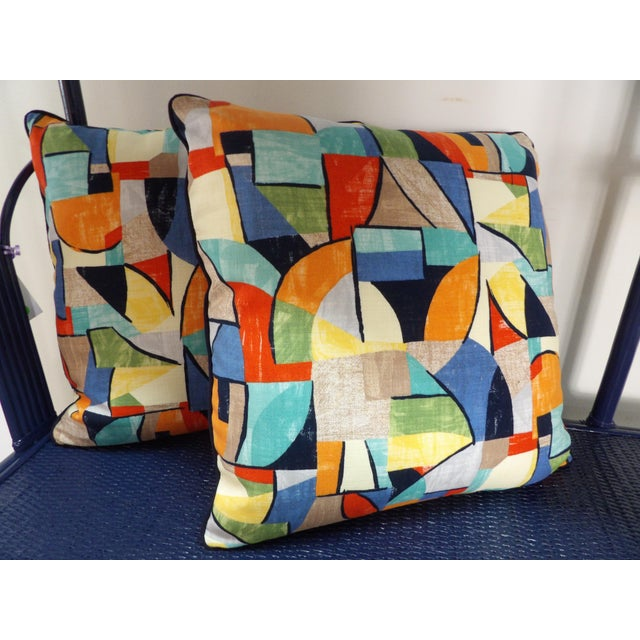 Colorful Abstract Custom Made Pillows - a Pair For Sale In West Palm - Image 6 of 6