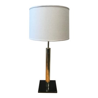 Brass Nessen Table Lamp W/ Linen Drum Shade For Sale