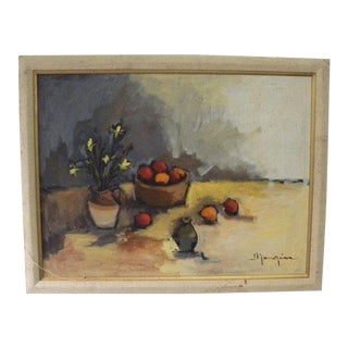 1960s Vintage Shabby Chic Signed Oil Painting For Sale