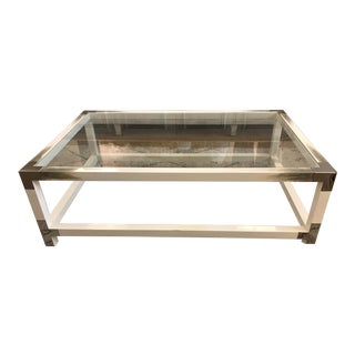 Contemporary Theodore Alexander Longhorn White Cutting Edge Cocktail Table For Sale