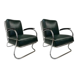 Pair of KEM Weber for Lloyd Tubular Chrome Lounge Chairs For Sale