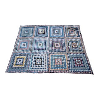 Antique Quilt in Postage Stamp Trip Around the World For Sale