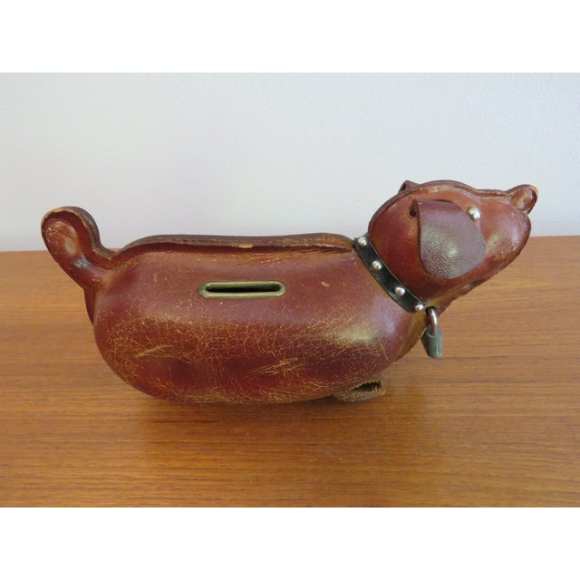 Mid-Century Modern 1960's Mid-Century Brown Leather Dog Coin Bank For Sale - Image 3 of 7