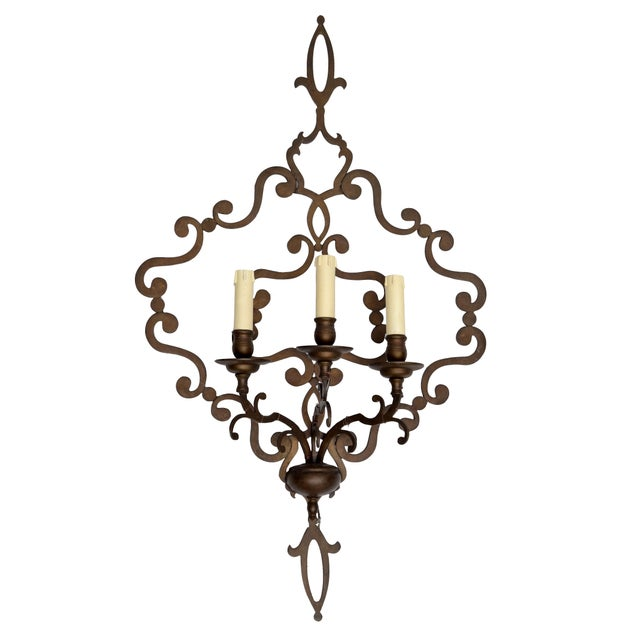 Italian Wrought Iron Applique, Wall Sconce - Image 5 of 5