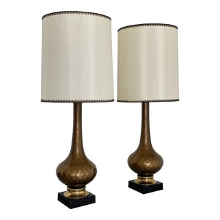 Pair of Mid Century Smoked Gold Fleck and Brass Glass Table Lamps For Sale