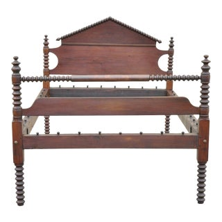 19th Century Jerry Lind Style 3/4 Full Size Cherry Spool Spindle Bed Frame For Sale
