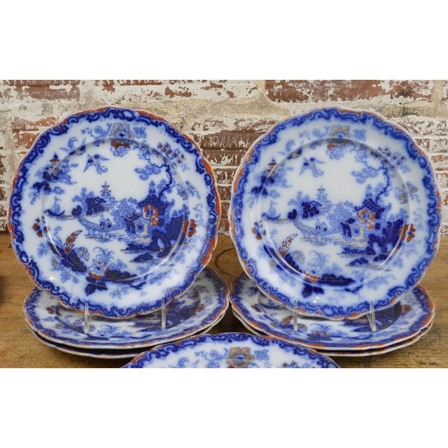 19th Century English Ironstone Blue and White Chinoiserie Plates- Set of 12 For Sale - Image 6 of 13