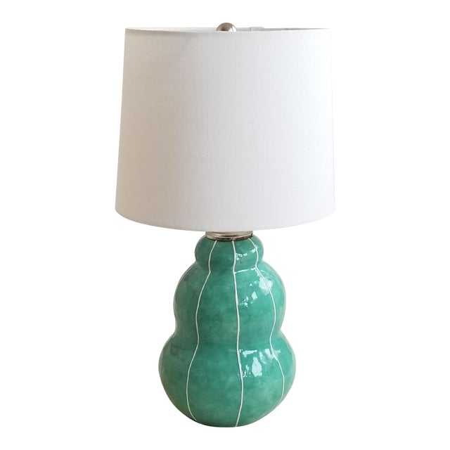 Turquoise Green Ceramic Table Lamp For Sale