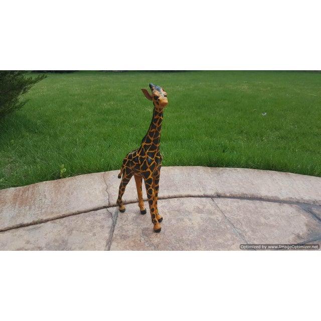 Primitive Handmade Paper Mache & Leather Giraffe Sculpture For Sale - Image 3 of 3