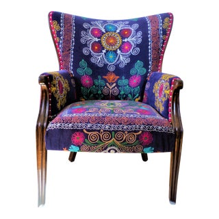 Bohemian, Suzani Embroidery Chair, Bergere Style, Blue Velvet, Wingback, Feather Seat Cushion, High Legged, Hand Carved, Silver Nail Head Trim