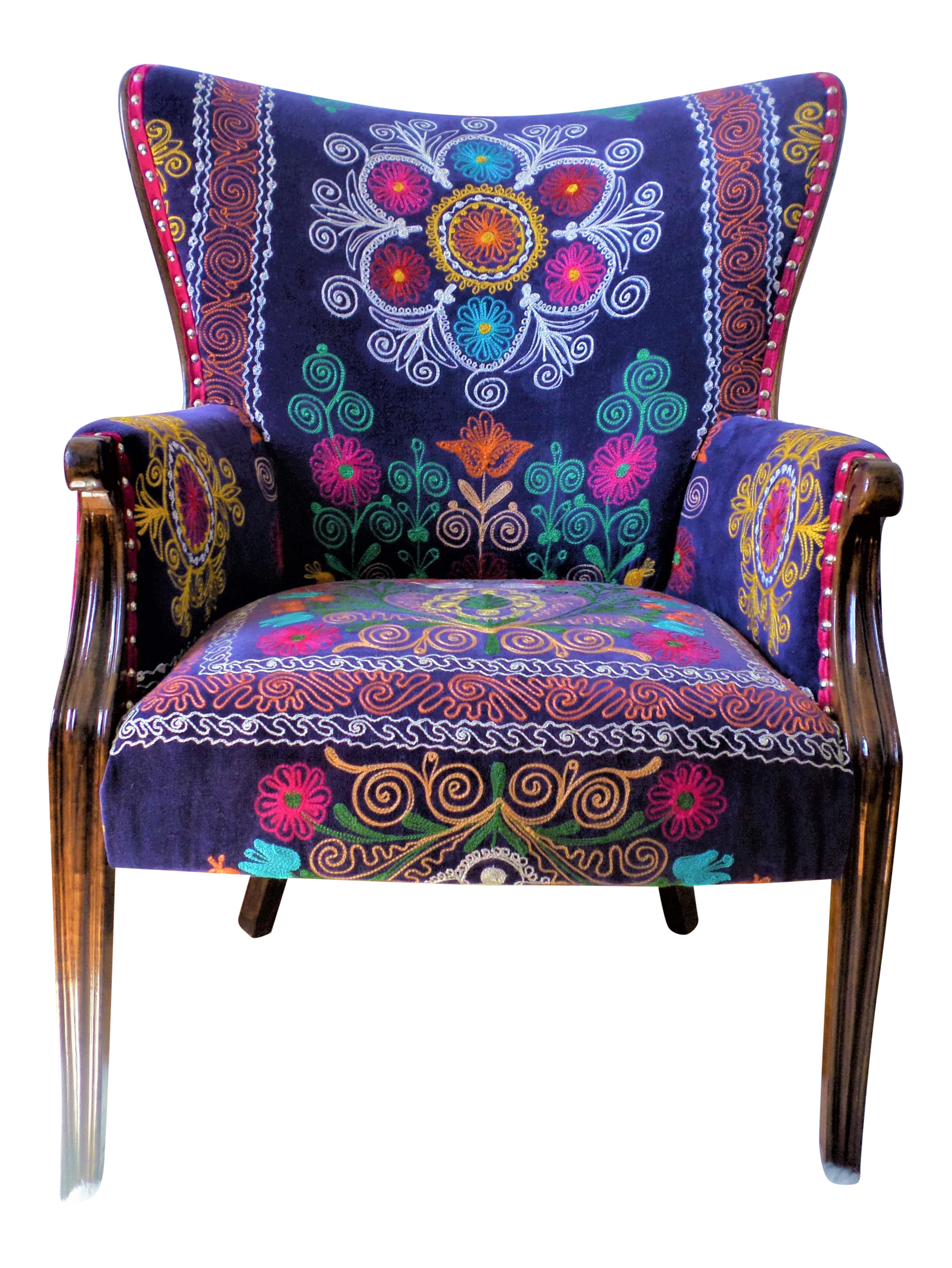 Superieur The Bohemian Chair, Suzani Embroidery, Bergere Style, Blue Velvet,  Wingback, Feather Seat Cushion, High Legged, Hand Carved, Silver Nail Head  Trim