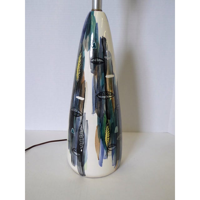 """Abstract Mid-Century Modern Tall Ceramic Table Lamp with Diffuser, Signed """"Strong"""" 1950s For Sale - Image 3 of 12"""