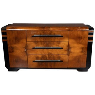 Art Deco Streamlined Black Lacquer and Burled Walnut Sideboard by Donald Deskey For Sale