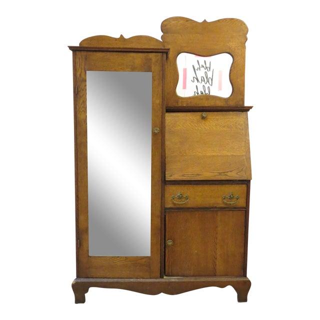 Oak Secretary Curio Cabinet For Sale