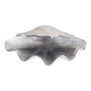 """Large 18"""" Silver Tone Finish Metal Clam Shell Seashell Shape Decor Bowl"""