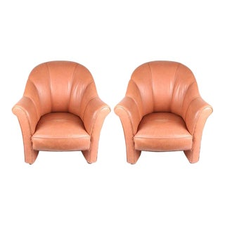 Late 20th Century Vintage Art Deco Style Leather Armchairs - A Pair For Sale
