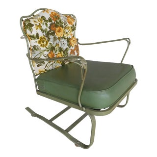 Vintage Russell Woodard Wrought Iron Bounce Club Chair For Sale