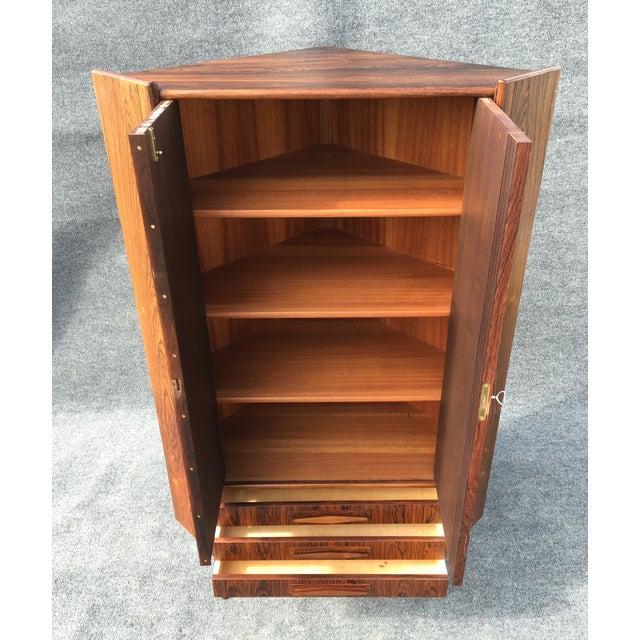 Danish Modern Rosewood Corner Cabinet - Image 5 of 6