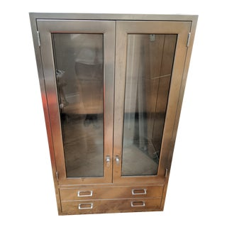 Late 20th Century Vintage Stainless Medical Cabinet For Sale