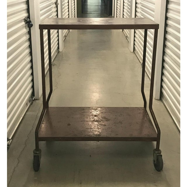 1960s Vintage Industrial Wheeled Cart For Sale - Image 5 of 6