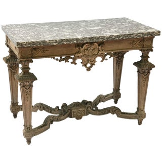 Finely Carved 19th Century Bleached Oak Console Table With Marble Top For Sale