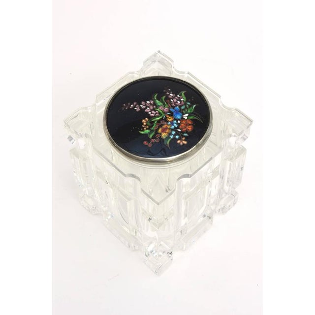 1980s Signed Enameled Foiled Cloisonné and Lucite Vessel/Box For Sale - Image 5 of 11