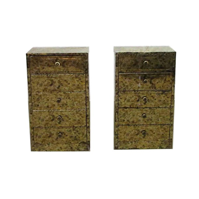Pair of Petite Metal Five Drawer Cabinets For Sale