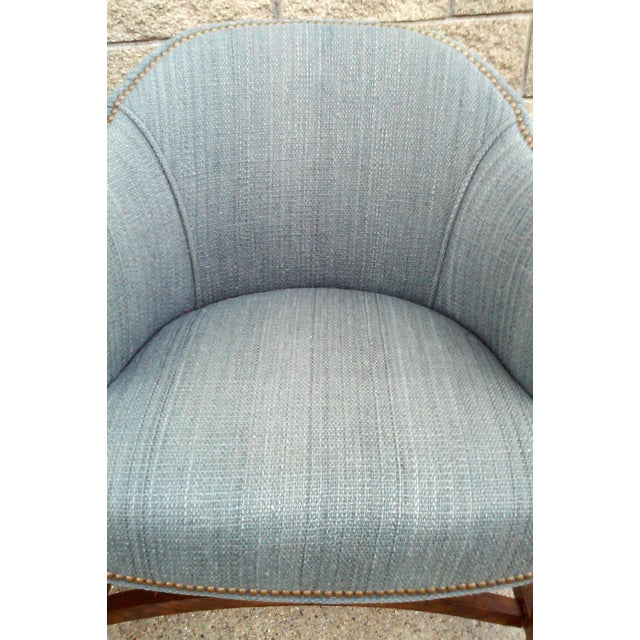 Blue Tufted Barrel Club Chairs - A Pair - Image 7 of 7