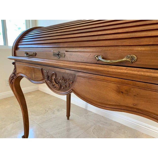 Wood Antique French Walnut Tambour Top Desk For Sale - Image 7 of 13