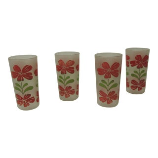 Set of Four Vintage Floral Hand-Painted Red and Green Glasses For Sale