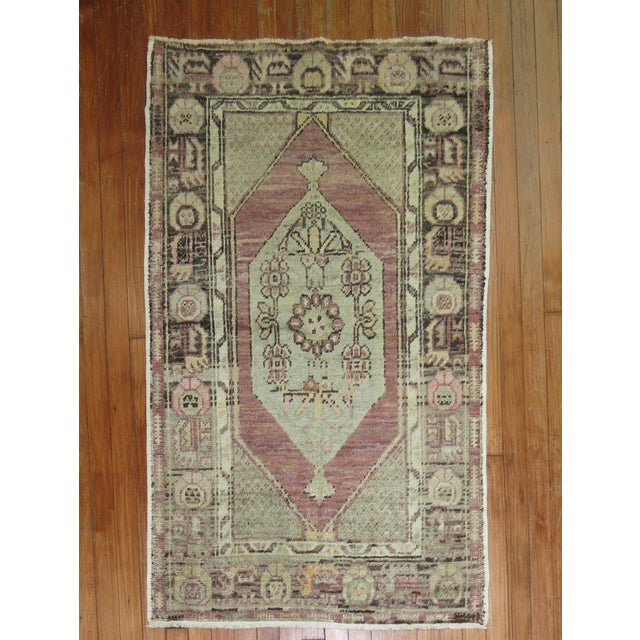 Lavender Turkish Oushak, 2'10'' X 4'4'' For Sale In New York - Image 6 of 6