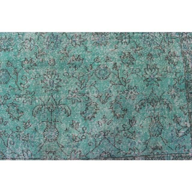 "Vintage Over-Dyed Teal Rug - 7'6"" x 10'9"" - Image 4 of 9"