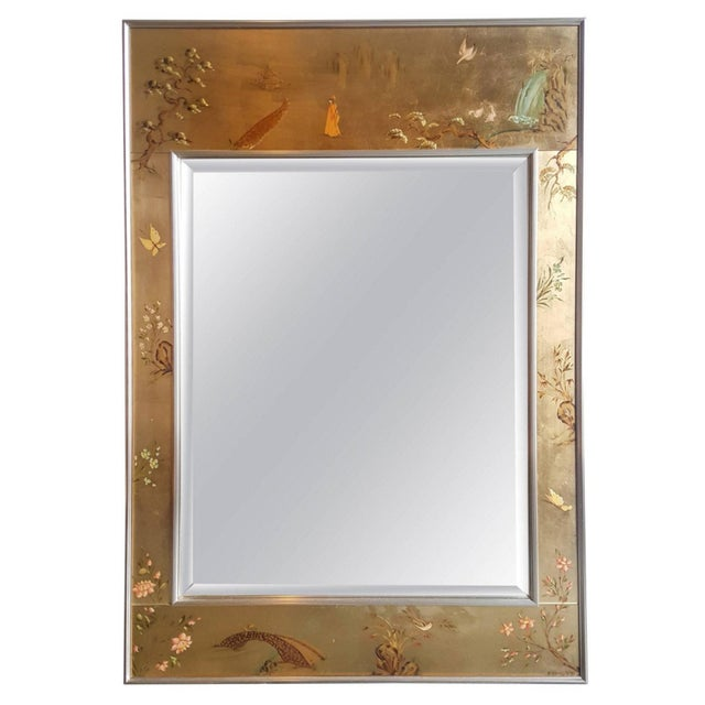 Large Labarge Églomisé Signed Chinoiserie Mirror - Image 1 of 6