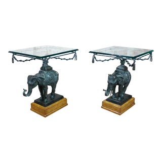 Maitland Smith Beautiful Bronze Elephant Side Tables - A Pair
